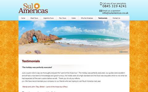 Screenshot of Testimonials Page sulamericas.co.uk - Happy Client Testimonials - captured Sept. 30, 2014