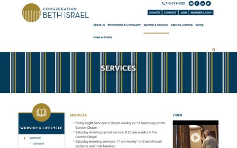 Screenshot of Services Page beth-israel.org - Services - Congregation Beth IsraelCongregation Beth Israel - captured Sept. 29, 2018