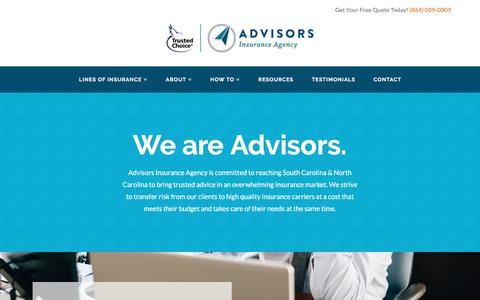 Screenshot of About Page advisorsinsuranceagency.com - Greenville SC Insurance Agency | About Us | Advisors Insurance Agency - captured May 29, 2017