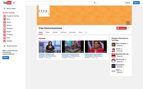 Screenshot of YouTube Page youtube.com - Crea Comunicaciones  - YouTube - captured Oct. 23, 2014