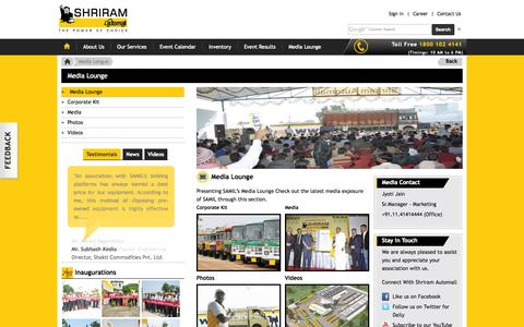 Screenshot of Press Page samil.in - Media Lounge - Reviews, Events, Latest News, Brand Information   Shriram Automall,         SAMIL   Shriram Automall - captured Oct. 4, 2014