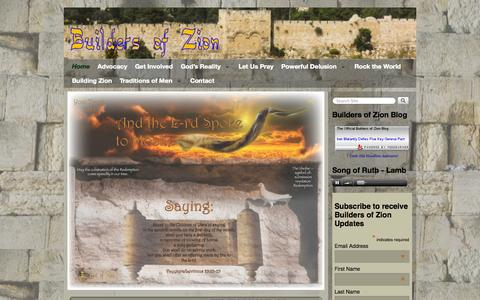 Screenshot of Home Page buildersofzion.org - Builders of Zion - Blessing the Apple of God's Eye, Israel - captured Sept. 30, 2014