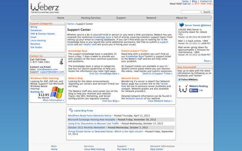 Screenshot of Support Page weberz.com - Web Hosting Support Center - Weberz Hosting - captured Sept. 19, 2014