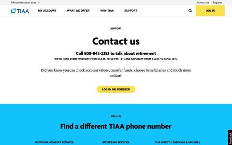Screenshot of Contact Page tiaa.org - Contact TIAA | TIAA - captured March 29, 2016