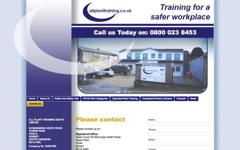 Screenshot of Contact Page allplanttraining.co.uk - Contact Us | Plant Machinery Courses | Poole | All Plant Training South Ltd - captured Sept. 30, 2014