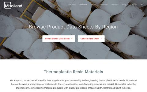 Screenshot of Products Page mholland.com - Thermoplastic Resin Products | Plastic Resin Distributor | M. Holland - captured Sept. 25, 2018