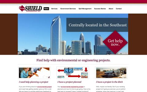 Screenshot of Home Page shieldengineering.com - Environmental engineering, spill management Charlotte, North Carolina, Knoxville, Tennessee - Shield Engineering - captured Oct. 7, 2014