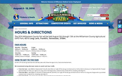 Screenshot of Maps & Directions Page williamsoncountyfair.org - Hours & Directions - captured Aug. 13, 2016