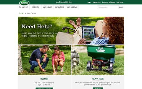 Screenshot of scotts.com - Help Center-Contact Lawn and Grass Experts-Scotts - captured Sept. 30, 2015