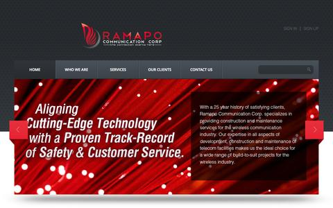 Screenshot of Home Page ramapocommunication.com - Ramapo Communication Corp. | The Connection Starts Here - captured Oct. 6, 2014