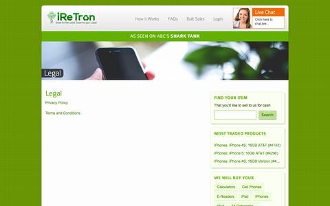 Screenshot of Terms Page iretron.com - Legal - iReTron.com - captured Feb. 4, 2016