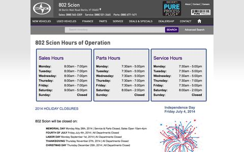 Screenshot of Hours Page 802scion.com - 802 Scion | New Scion dealership in Berlin, VT 05602 - captured Oct. 7, 2014