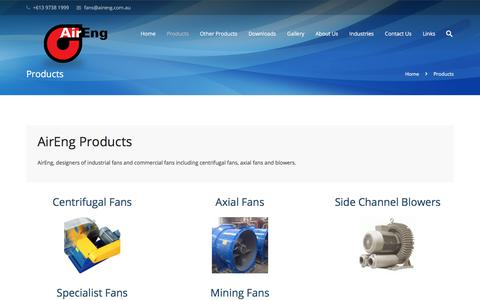 Screenshot of Products Page aireng.com.au - Products - captured Oct. 7, 2017