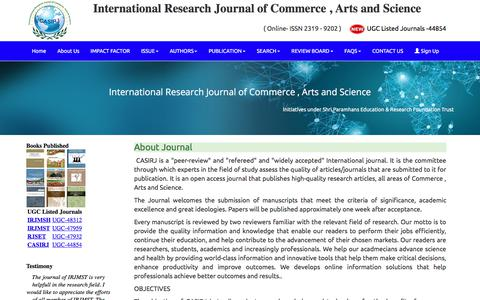 Screenshot of About Page casirj.com - UGC Listed – Approved Journal – casirj.com : About Journal - captured Feb. 5, 2018