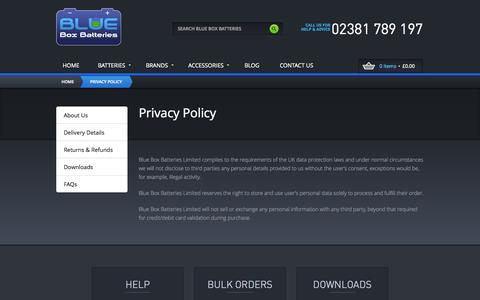 Screenshot of Privacy Page blueboxbatteries.co.uk - Privacy Policy By Blue Box Batteries - captured Oct. 5, 2014