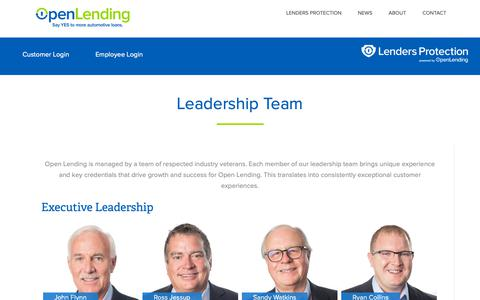 Screenshot of Team Page openlending.com - Leadership Team – Open Lending - captured Nov. 15, 2018