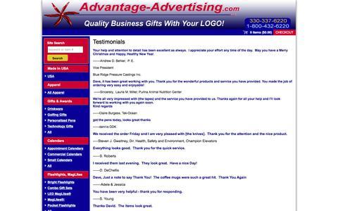 Screenshot of Testimonials Page advantage-advertising.com - Testimonials - captured Oct. 7, 2017