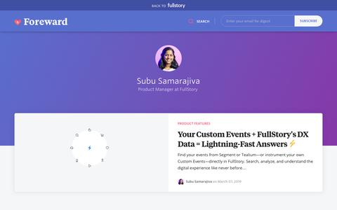 Screenshot of Blog fullstory.com - Subu Samarajiva - FullStory Blog | Replay Sessions, CX Analytics, Funnels & Heatmaps - captured Feb. 5, 2020