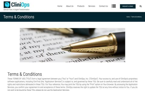 Screenshot of Terms Page cliniops.com - CliniOps: Terms & Conditions - captured Sept. 28, 2018