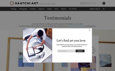 Screenshot of Testimonials Page saatchiart.com - Testimonials | Saatchi Art - captured Dec. 3, 2015