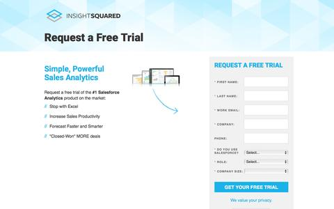 Screenshot of Trial Page insightsquared.com - Free Trial | InsightSquared - captured May 26, 2016