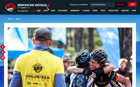 Screenshot of About Page mtba.asn.au - Mountain Bike Australia - captured Feb. 16, 2016