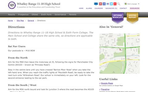 Screenshot of Maps & Directions Page wrhs1118.co.uk - Directions - Whalley Range 11-18 High School - captured March 15, 2017