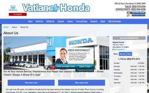 Screenshot of About Page vatland.com - About Us | Vatland Honda Dealership - captured Feb. 26, 2016