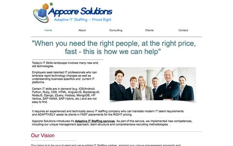 Screenshot of Services Page appcoresolutions.com - appcoresolutions2 - captured Oct. 4, 2014