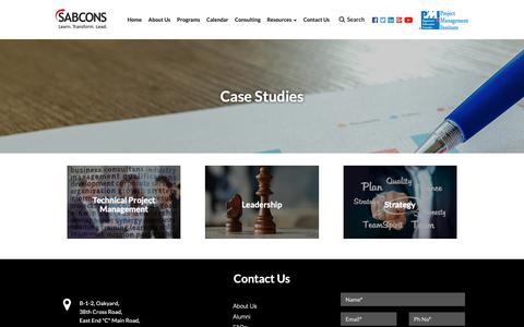 Screenshot of Case Studies Page sabcons.com - Case Studies, PM, Leadership, Strategy - captured Oct. 1, 2018