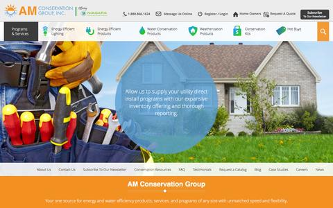 Screenshot of Home Page amconservationgroup.com - Energy & Water Saving Products - AM Conservation Group - captured Feb. 4, 2016