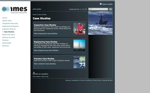 Screenshot of Case Studies Page imes-group.com - Imes Ltd - Case Studies - captured Sept. 30, 2014