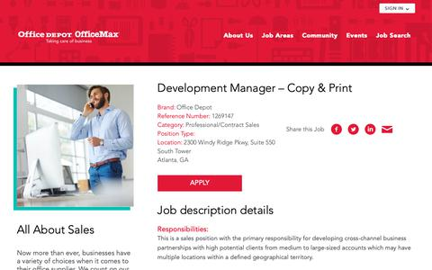 Screenshot of officedepot.com - Development Manager - Copy & Print Office Depot OfficeMax - captured Oct. 23, 2018