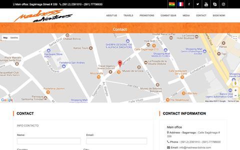 Screenshot of Contact Page madness-bolivia.com - Madness Adventures Bolivia - captured Oct. 4, 2017