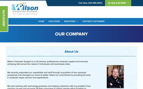 Screenshot of About Page wilsoncomputer.com - Our Company - captured Nov. 8, 2019