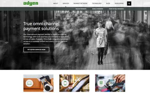 Screenshot of Services Page adyen.com - International Omni-Channel Payment Solutions - Adyen - captured Sept. 18, 2014