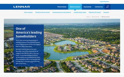 Screenshot of About Page lennar.com - Lennar Corporation - About Lennar - captured Oct. 21, 2015