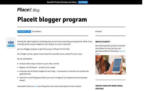 Screenshot of placeit.net - Placeit blogger program | Placeit Blog - captured Sept. 13, 2016