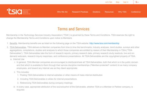Screenshot of Terms Page tsia.com - Terms and Services   TSIA - captured Oct. 18, 2018