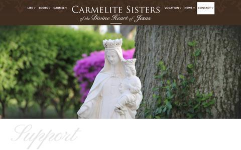 Screenshot of Support Page carmelitedcj.org - Support - captured June 14, 2016
