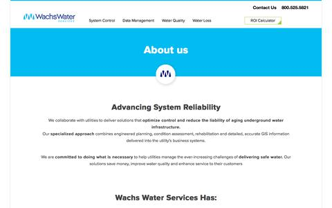 Screenshot of About Page wachsws.com - Wachs Water Services | Wachs Water Services - captured Oct. 18, 2017