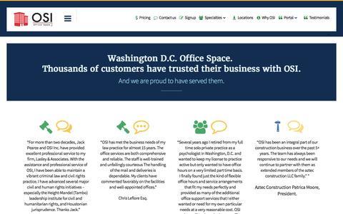 Screenshot of Testimonials Page osioffices.com - OSI Testimonials | Washington virtual office space | DC | OSI Offices - captured Nov. 30, 2016