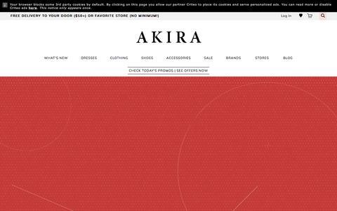 Screenshot of Home Page shopakira.com - AKIRA | Sexy Dresses, Cute Crop Tops, & SO Many Shoes - captured Sept. 7, 2017