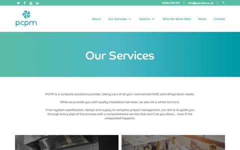 Screenshot of Services Page pcpmltd.co.uk - Our Services - PCPM LTD - PCPM LTD - captured Sept. 27, 2018