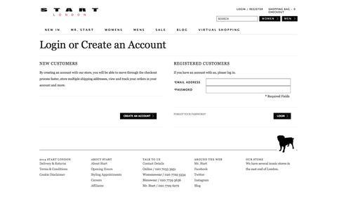 Screenshot of Login Page start-london.com - Customer Login - captured Sept. 25, 2014