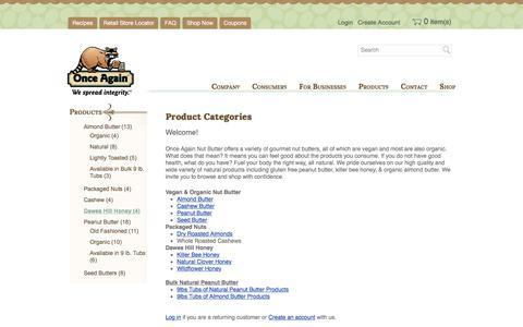 Screenshot of Products Page onceagainnutbutter.com - Shop Nut Butter   No Stir Organic Nut Butter   Vegan Organic Nut Butter   Once Again Nut Butter - captured Oct. 25, 2017