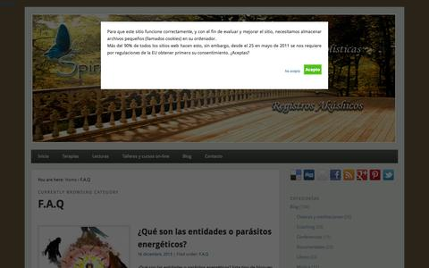 Screenshot of FAQ Page spiritualchakra.com - Preguntas más frecuentes en sanaciones holísticas - captured Nov. 3, 2014