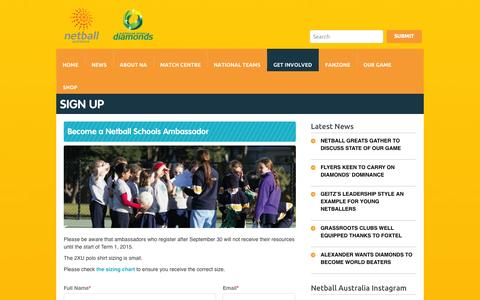 Screenshot of Signup Page netball.com.au - Sign Up - Netball AustraliaNetball Australia - captured Nov. 3, 2014