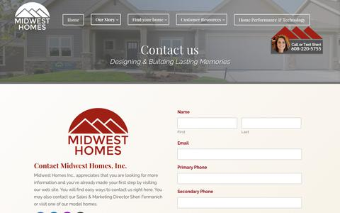 Screenshot of Contact Page midwesthomesinc.com - Contact us | Midwest Homes Inc. - captured June 11, 2017