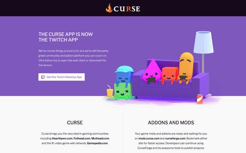 Screenshot of Home Page curse.com - Curse is evolving! - captured June 20, 2017
